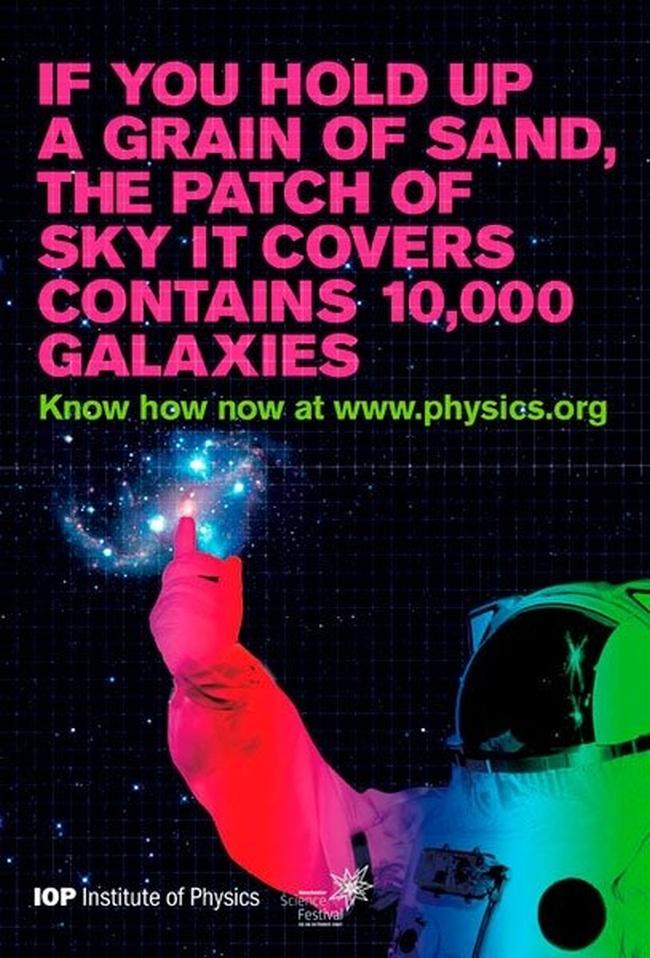 poster para promoção da física e astronomia