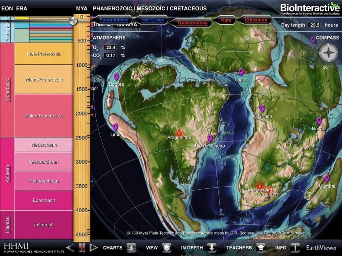 app com as escalas de tempo e mapa mundi