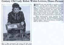 matéria de revista sobre uma boneca robô