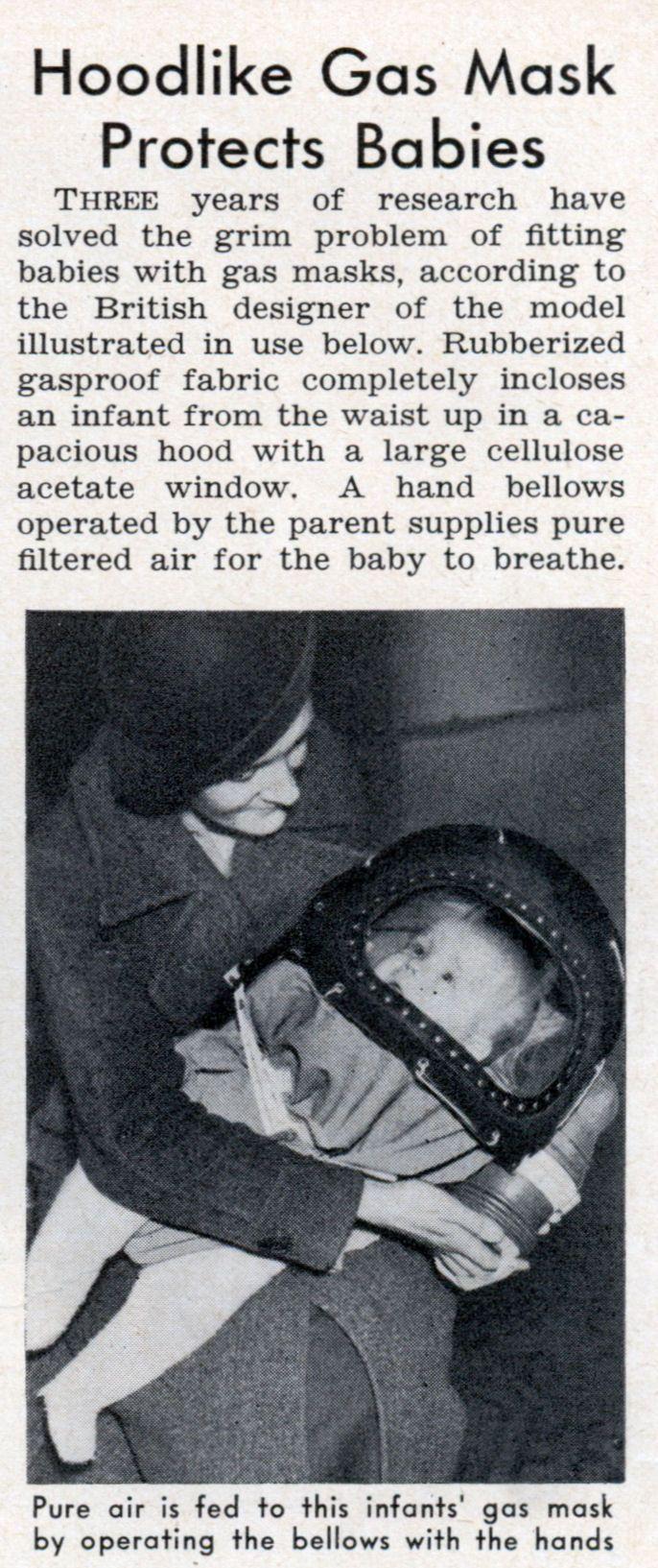 matéria em revista antiga sobre proteção de bebes na guerra