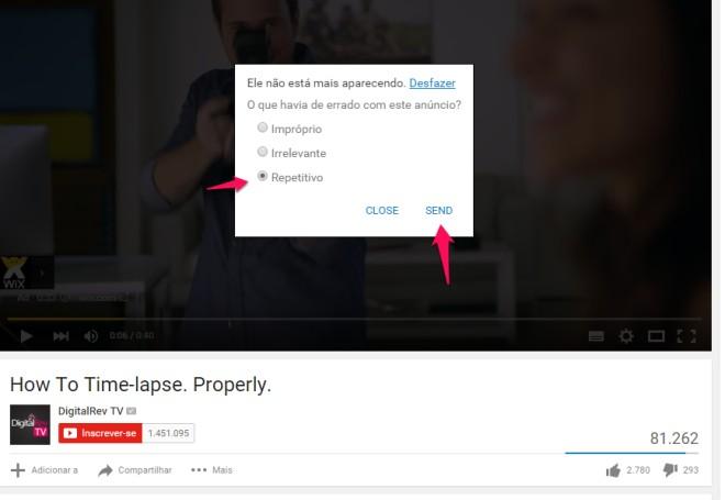 tela de opções do youtube