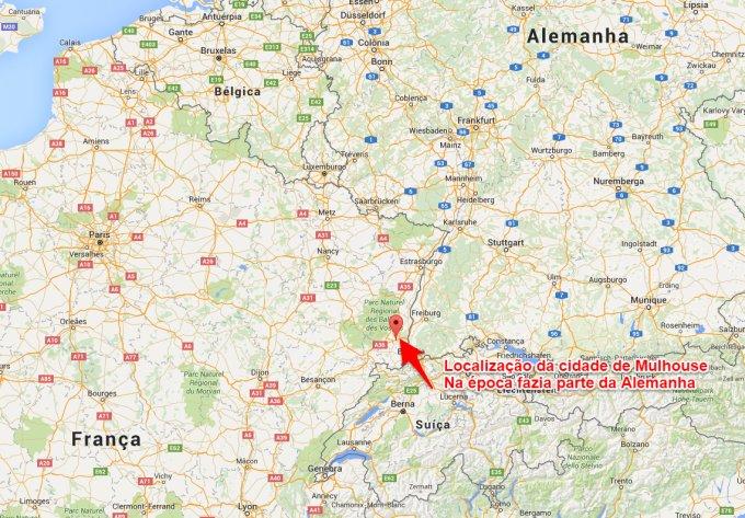 mapa atual mostrando a localização da cidade de Mulhouse na França