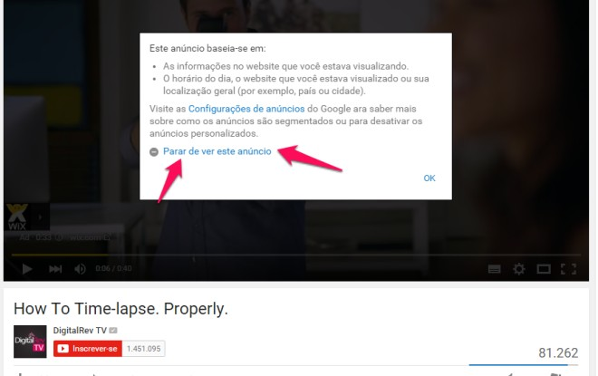 opção para não ver um anúncio no youtube